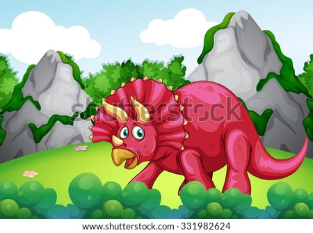 Red dinosaur in the park illustration - stock vector