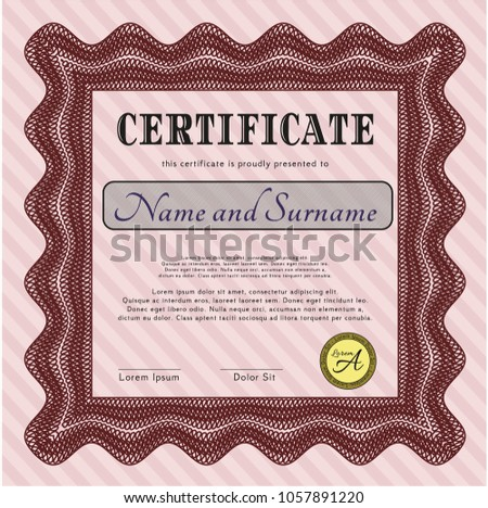 Red Diploma Template Certificate Template Detailed Stock Vector