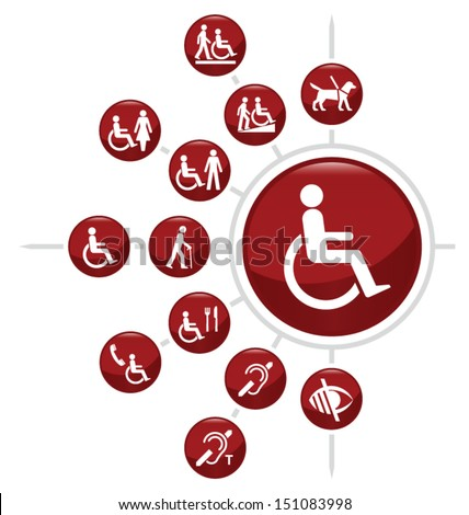 Red Disability related icon set isolated on white background - stock vector
