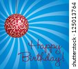 Red disco ball Happy Birthday card in vector format. - stock vector
