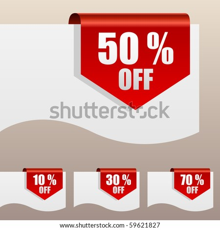 Red discount labels bent around paper edge. - stock vector