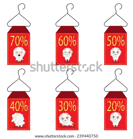 Red discount labels with cute cartoon sheep. - stock vector