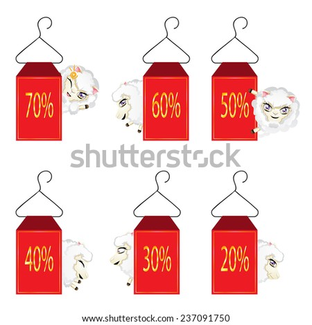 Red discount labels with cute cartoon sheeps. - stock vector