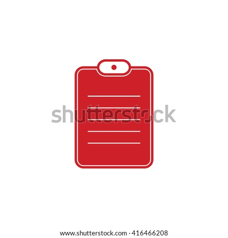 Red document paper vector icon. Notes illustration. - stock vector