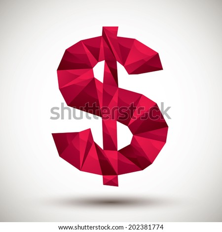 Red dollar sign geometric icon made in 3d modern style, best for use as symbol or design element for web or print layouts. - stock vector