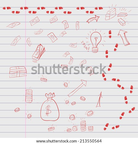Red doodle elements of business infographic on lined sheet. Vector illustration - stock vector