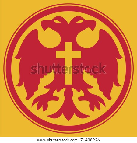 Red Doubleheaded Eagle Red Circlet Cross Stock Vector Hd Royalty