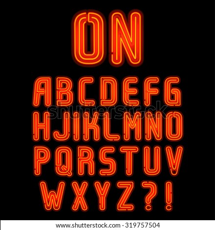 Red double neon font part 1 of 2, Complete Alphabet