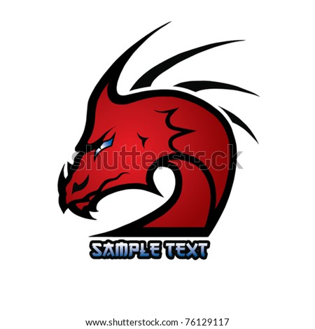 red dragon - stock vector