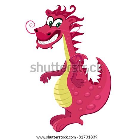 Red dragon cartoon - stock vector