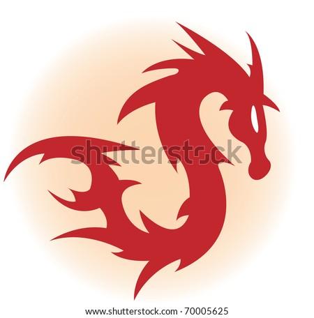 Red dragon. Vector illustration - stock vector
