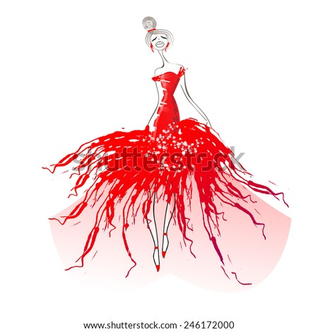red dress - stock vector