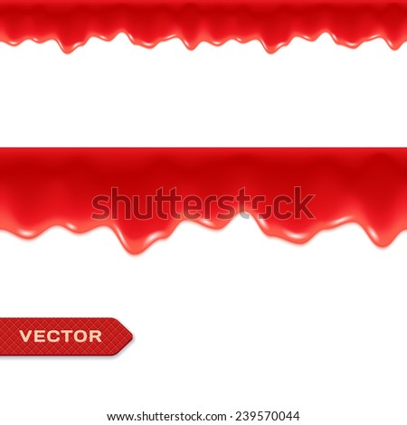 Red Drips. Seamless Border. Strawberry or Raspberry Jam or Ketchup. Vector. - stock vector