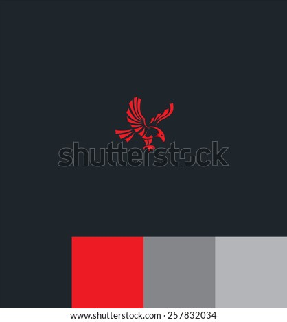 Red eagle and text on color background for your design - stock vector