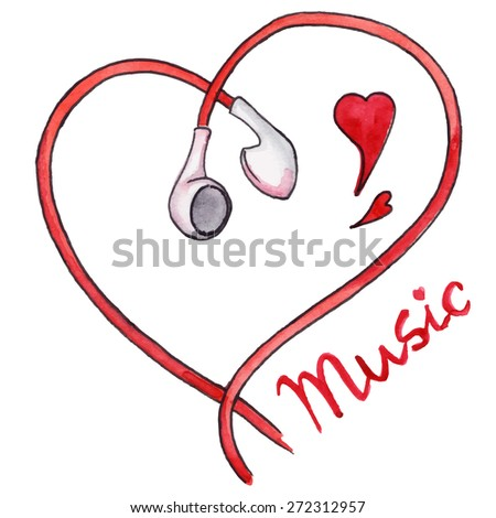 Red earphones heart shaped love music isolated vector
