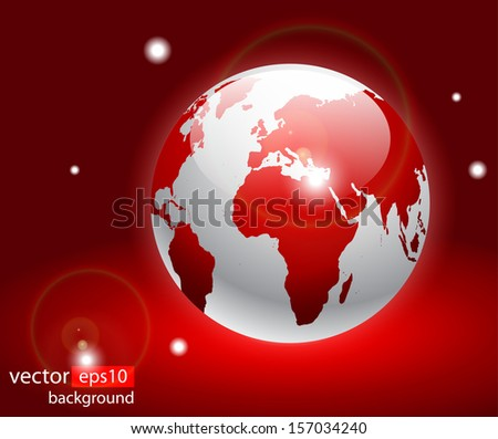 Red earth globes, world glossy detailed vector illustration - stock vector