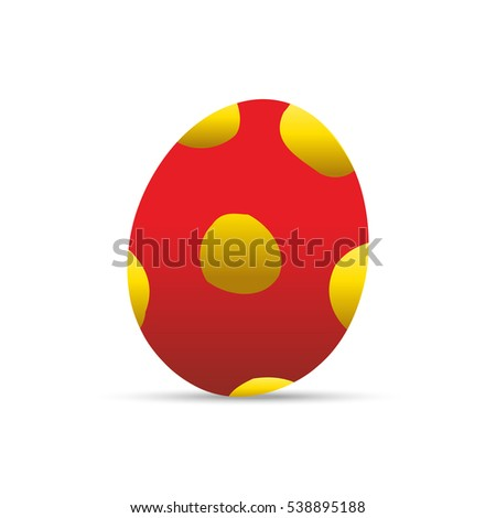 Red easter egg with dots vector illustration.