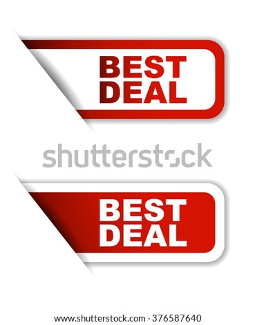 Red easy vector illustration isolated horizontal banner best deal two versions. This element is well adapted to web design. - stock vector