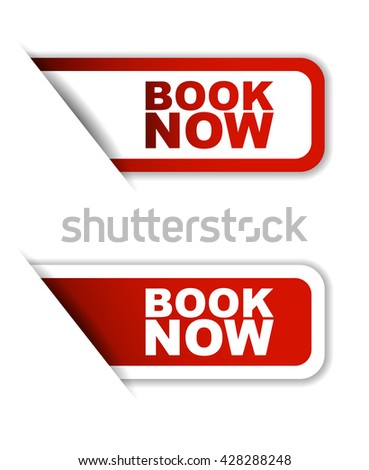 Red easy vector illustration isolated horizontal banner book now two versions. This element is well adapted to web design. - stock vector