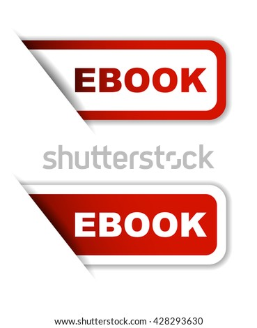 Red easy vector illustration isolated horizontal banner ebook two versions. This element is well adapted to web design. - stock vector