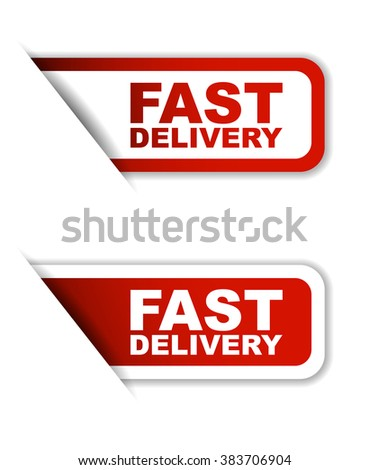 Red easy vector illustration isolated horizontal banner fast delivery two versions. This element is well adapted to web design. - stock vector