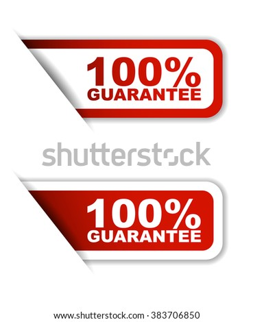 Red easy vector illustration isolated horizontal banner 100% guarantee two versions. This element is well adapted to web design. - stock vector