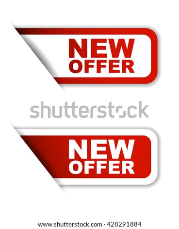 Red easy vector illustration isolated horizontal banner new offer two versions. This element is well adapted to web design. - stock vector