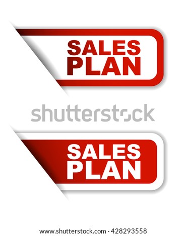 Red easy vector illustration isolated horizontal banner sales plan two versions. This element is well adapted to web design. - stock vector