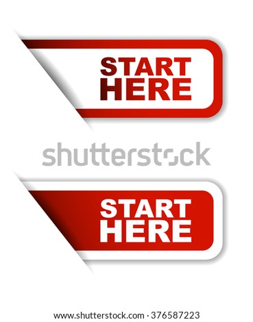Red easy vector illustration isolated horizontal banner start here two versions. This element is well adapted to web design.