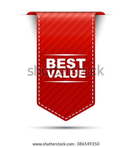 Red easy vector illustration isolated ribbon banner best value. This element is well adapted to web design. - stock vector