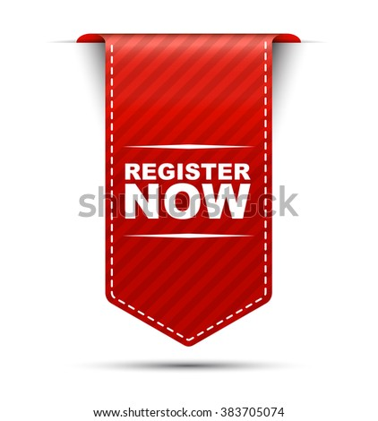 Red easy vector illustration isolated ribbon banner register now. This element is well adapted to web design. - stock vector
