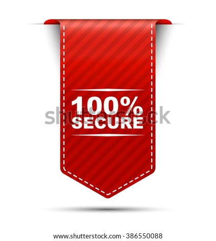 Red easy vector illustration isolated ribbon banner 100% secure. This element is well adapted to web design. - stock vector
