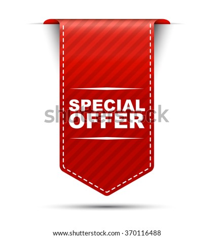 Red easy vector illustration isolated ribbon banner special offer. This element is well adapted to web design. - stock vector