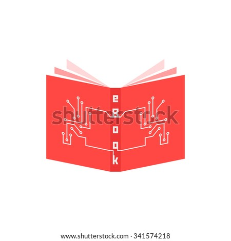 red ebook icon with pcb elements. concept of ereader, tablet, e-learning, gadget, periodical press, schooling. isolated on white background. flat style trend modern logotype design vector illustration - stock vector