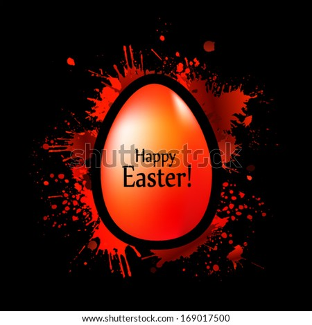 red egg on the spots of paint. Happy Easter! Vector - stock vector