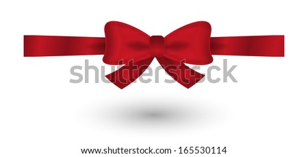 red elegant gradient bow on white background - stock vector