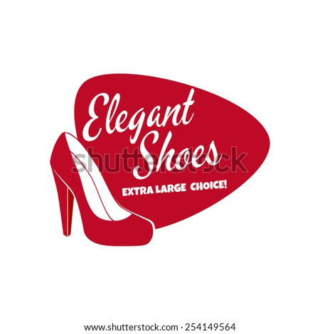 red elegant women's shoes sign - stock vector