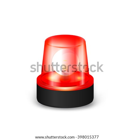 Red Emergency Flashing Siren on a White Background. EPS-10.