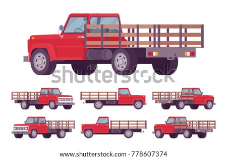 Red empty truck. Vehicle to transport large amounts of cargo, open car for carrying goods and materials. Vector flat style cartoon illustration isolated on white background, different positions
