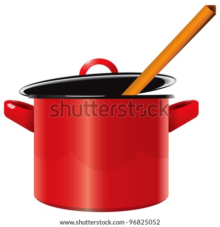 Red enameled saucepan with a lid and a wooden spoon. Vector illustration.