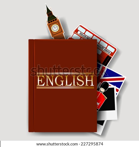 Red english dictionary. Vector eps 10 - stock vector