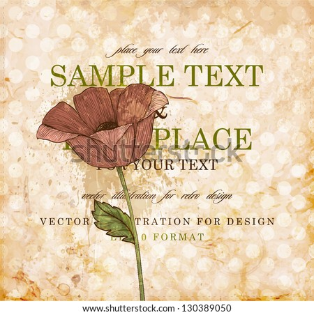 Red engraving flower for retro design, old paper texture - stock vector