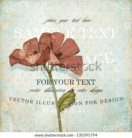 Red engraving flowers for retro design, old paper texture with corner ornaments, vector illustration