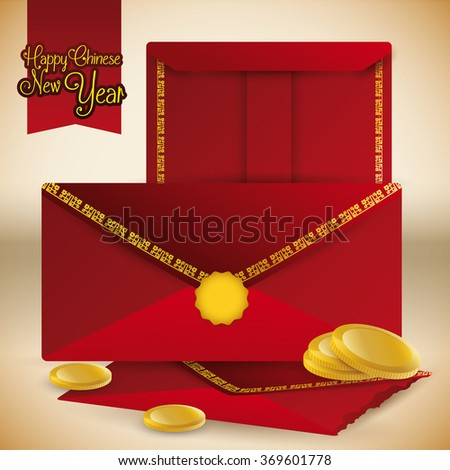 Red envelope and package with money and coins for Chinese New Year.