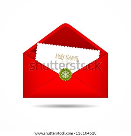 Red Envelope letter Merry Christmas white card, Vector illustration - stock vector