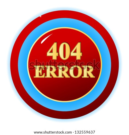 Red 404 error symbol on a white background. Vector illustration