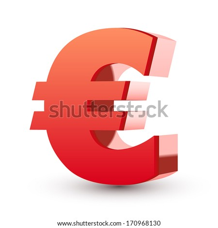 red euro symbol isolated white background - stock vector