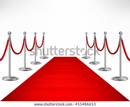 Red event carpet and silvery barriers on white background realistic vector illustration