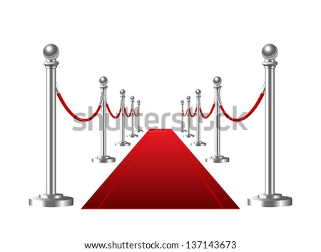 Red event carpet isolated on a white background. Vector illustration