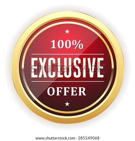 Red exclusive offer button with gold border on white background - stock vector